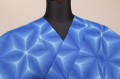 雪花絞浴衣(ゆかた) 綿麻紅梅 オーダー仕立て付き 藤井絞 青 ◆女性にオススメ◆