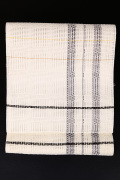 近賢織物 ZAway 八寸名古屋帯 絹 和紙 白×黒