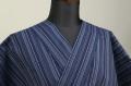 遠州木綿 木綿着物 オーダーお仕立て付き 遠州縞 青 ◆男女兼用◆