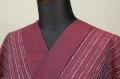 遠州木綿 木綿着物 オーダーお仕立て付き 六〇双糸 絣ストライプ 赤 ◆男女兼用◆