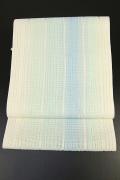 西村織物 博多織 八寸名古屋帯 正絹 お仕立て付き 青×緑×白 縦ストライプ