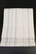西村織物 博多織 八寸名古屋帯 正絹 お仕立て付き 白×紫×青 縦ストライプ