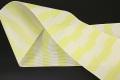 西村織物 悦 博多織 正絹半幅帯 かがり仕立付 帯 ストライプ 絹100% 黄白