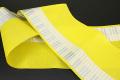 西村織物 悦 博多織 正絹半幅帯 かがり仕立付 帯 ピアノ 絹100% 黄