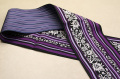 黒木織物 博多織 正絹半幅帯 更紗柄 かがり仕立付 黒×紫