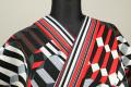 誉田屋源兵衛 綿麻浴衣(ゆかた) オーダー仕立て付き 幾何学模様 赤×白×黒 ◆男女兼用◆