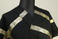 誉田屋源兵衛 綿麻浴衣(ゆかた) オーダー仕立て付き 格子柄 黒×金 ◆男女兼用◆
