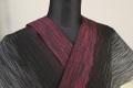 夏着物 小千谷ちぢみ 楊柳 杉山織物 オーダー仕立て付き 黒×赤×白 絣模様