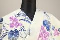 浜松注染浴衣(ゆかた) オーダー仕立て付き 注染 花柄 紫陽花 白×紺