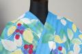 itomi浴衣(ゆかた) オーダー仕立て付き 木綿 木苺 水色×カラフル ◆女性にオススメ◆