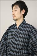 源氏物語 浴衣(ゆかた) オーダー仕立て付き 菱形 灰×黒 ◆男性にオススメ◆