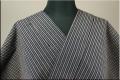 出羽木綿 オーダーお仕立付き 洗える普段着着物 上杉藩 二色縞 オレンジx紺15  ◆男女兼用◆.