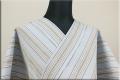 遠州木綿 布はし紬 木綿着物 オーダーお仕立て付き ストライプ スカイブルー ◆男女兼用◆
