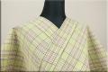 遠州木綿 布はし紬 木綿着物 オーダーお仕立て付き チェック ライトグリーン ◆男女兼用◆