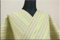 遠州木綿 布はし紬 木綿着物 オーダーお仕立て付き ストライプ ライトグリーン ◆男女兼用◆