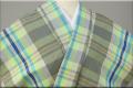 伊勢木綿 木綿着物 オーダーお仕立て付き 格子 グレー緑青◆背の高い人にオススメ◆