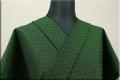 三河木綿 オーダーお仕立付き 洗える普段着着物  中厚地 チェッカーボード 緑 S-7 ◆男女兼用◆