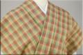 片貝木綿 木綿着物 オーダーお仕立て付き 格子 ベージュ緑オレンジ
