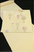 西村織物 博多織 正絹 九寸名古屋帯 気球と鳥 お仕立て付き ベージュ