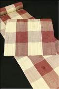 西村織物 博多織 夏物 からむし(苧麻) 紗 八寸名古屋帯 変り市松 お仕立て付き 茶x生成り