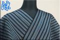 夏着物 小千谷ちぢみ 楊柳 オーダー仕立て付き 杉山織物  縞 黒 ◆男女兼用◆