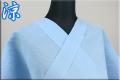 夏着物 小千谷ちぢみ 楊柳 オーダー仕立て付き 杉山織物 無地 水色 ◆男女兼用◆