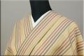 【家庭で洗える】ウォッシャブルウール着物 オーダーお仕立て付き 暖かい普段着きもの クリーム 縞柄 ◆男女兼用◆