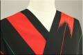JUNKO KOSHINO浴衣(ゆかた) オーダー仕立て付き 赤緑の矢絣 黒 冴26 男女兼用