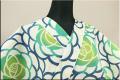 浜松注染浴衣(ゆかた) オーダー仕立て付き 注染 花 黄緑 女性にオススメ