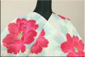 岡重 浴衣(ゆかた) オーダー仕立て付き 綿 絽 芍薬 朱 薄浅葱 女性にオススメ