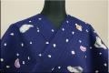 ツモリチサト浴衣(ゆかた) オーダー仕立て付き 富士山 ナスビ 日本扇子 紺 男女兼用