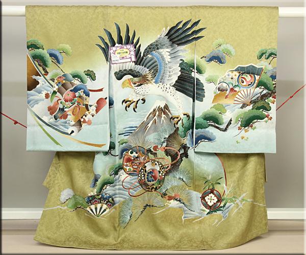 男児お祝い着 のしめ初着 金彩変わり織り金茶ぼかし地 鷹と富士山に松文様 家紋入れ付