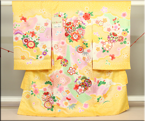 女児お祝い着 のしめ初着 金駒刺繍京友禅 黄色 手まりと花