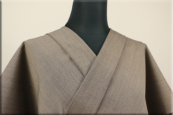 ウール着物 オーダーお仕立て付き 六〇双糸 暖かい普段着きもの 茶 ストライプ ◆男女兼用◆