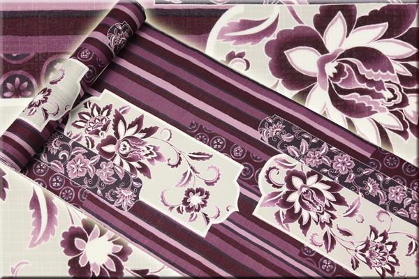 オーダー仕立て付き 手捺染 浴衣(ゆかた) 井登美 更紗ぎぼし 紫 女性にオススメ