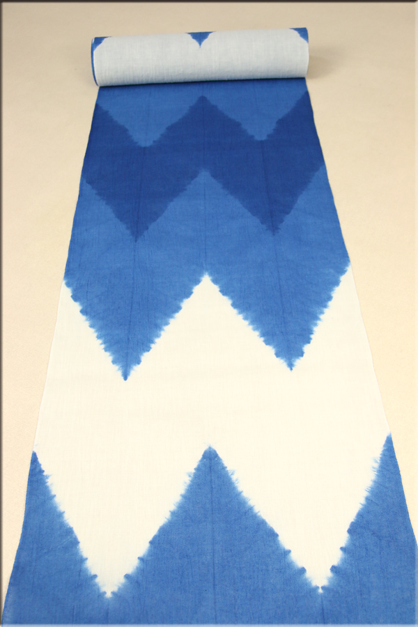 板締め絞り浴衣(ゆかた) オーダー仕立て付き 藤井絞謹製 板締め絞 W柄 青 男女兼用
