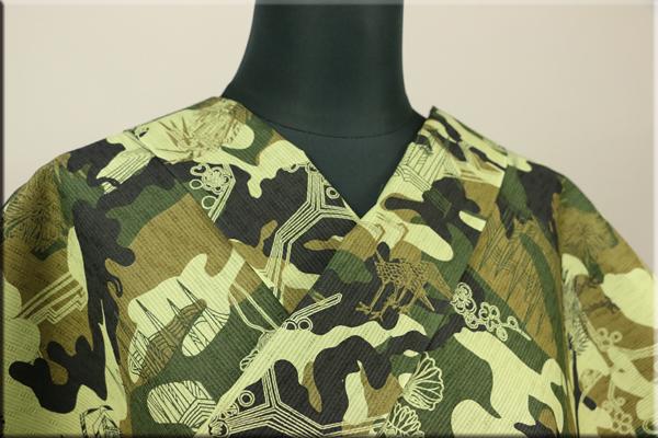 JUNKO KOSHINO浴衣(ゆかた) オーダー仕立て付き 迷彩柄 カーキ 隼141 男性にオススメ