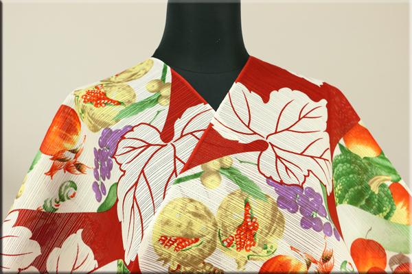 岡重 浴衣(ゆかた) オーダー仕立て付き 綿 絽 瓢箪に野菜と果物 赤 女性にオススメ