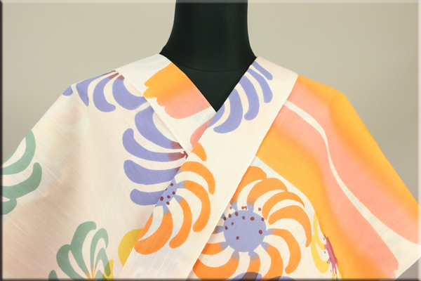 ツモリチサト浴衣(ゆかた) オーダー仕立て付き 花 オレンジ 女性にオススメ