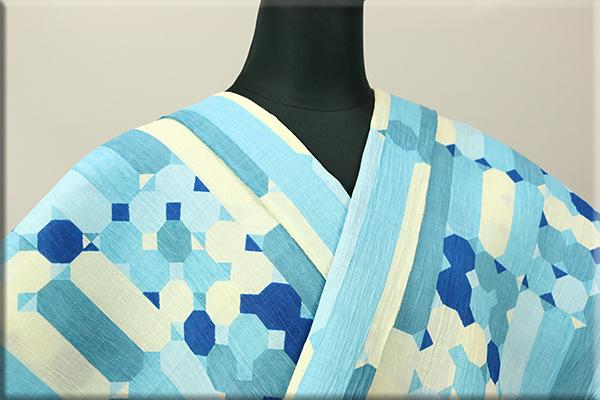 トリエ  蒟蒻糊 手もみ加工 綿麻縮 浴衣(ゆかた) オーダー仕立て付き ペンシルケース ブルー 女性にオススメ