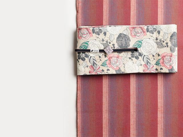 【遠州綿紬】-紅縞-柔らかなグラデーションのモダンな木綿着物(水通し込み)