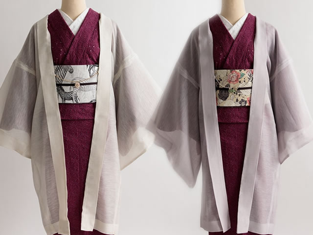 リネン混オーガンジーの薄羽織CODE STYLE(2色・SHORT丈/ LONG丈・羽織り紐付き)
