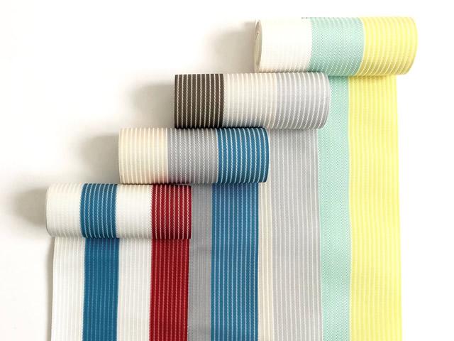 【ご予約割】単-夏の博多織半幅帯-BORDERS(4色・正絹100%・お届け6月上旬)