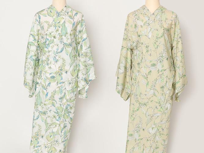 <在庫限り/再販無し>BASIC & FREEサイズの着物にぴったりの!プレタ長襦袢 -サルビアの花束(2色・綿100%)