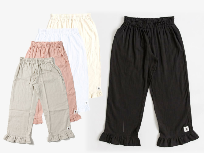 【新色登場!】 腰履きタイプ 脱いでもかわいい、赤ちゃんWガーゼの大人のステテコ(3色+新色2色・M / L)