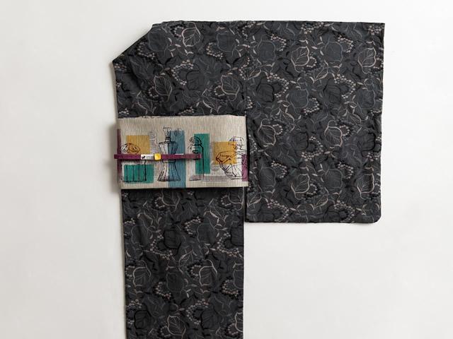 レース刺繍着物-葡萄