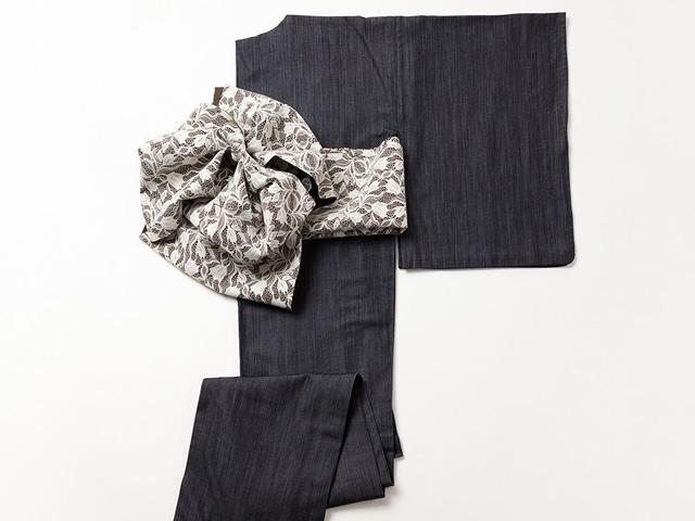 【デニム着物】上質なしなやかさーシルクデニム着物-サンクチュアリ(水通し済み・F/誂)