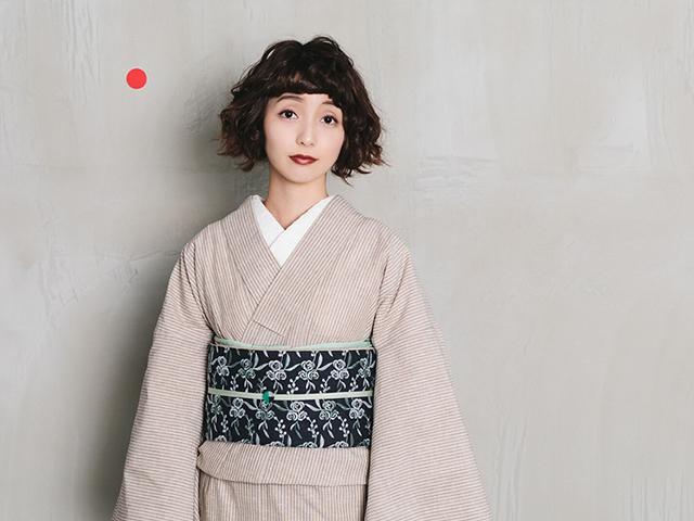 【レンタル】遠州木綿カフェオレストライプ×名古屋帯-鈴花