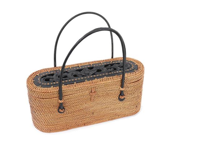 【かごバッグ】ウッドレリーフ蓋付アタオーバルバッグ