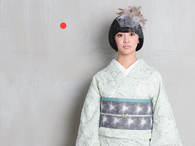 【レンタル】レース刺繍着物-葡萄+リバーシブル半幅帯-万華鏡の花(送料無料・2週間レンタル・買取可)